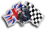 DEATH The Grim Reaper Design With Union Jack British Flag Motif Vinyl Car Sticker 130x80mm